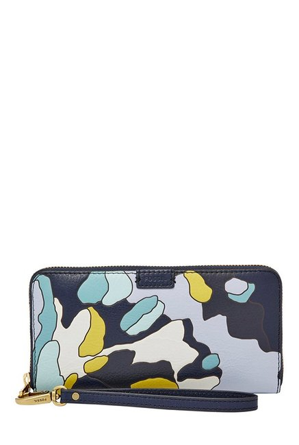 Fossil Navy & White Printed Leather RFID Wallet