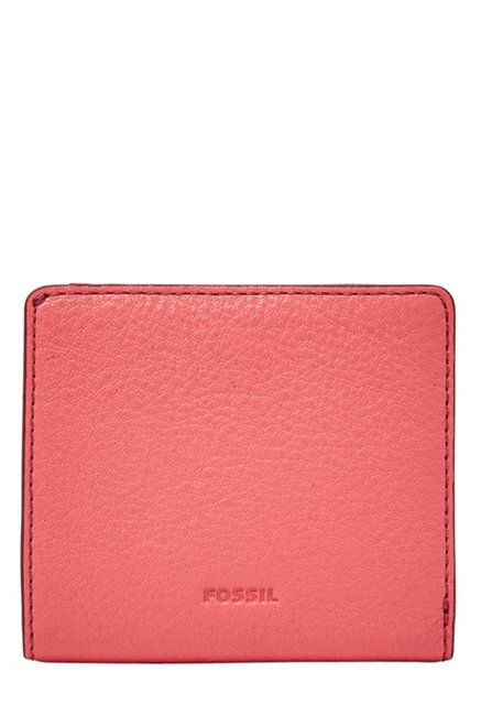 Fossil Rose Pink Solid Leather Bi-Fold Wallet