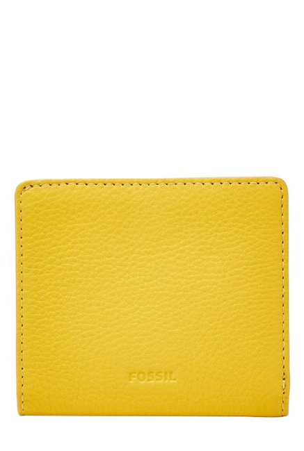 Fossil Mimosa Yellow Solid Leather RFID Bi-Fold Wallet