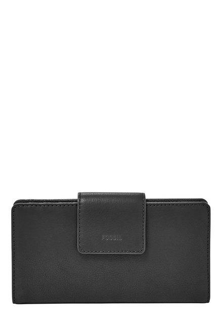 Fossil Black Solid Leather RFID Bi-Fold Wallet