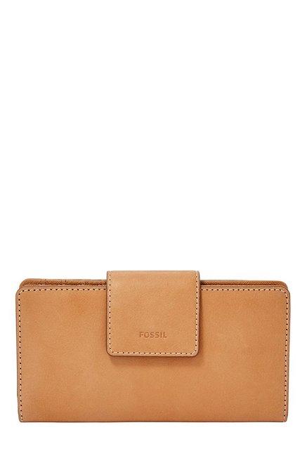 Fossil Tan Solid Leather RFID Bi-Fold Wallet