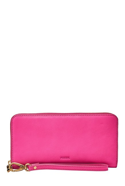 Fossil Hot Pink Solid Leather RFID Wallet