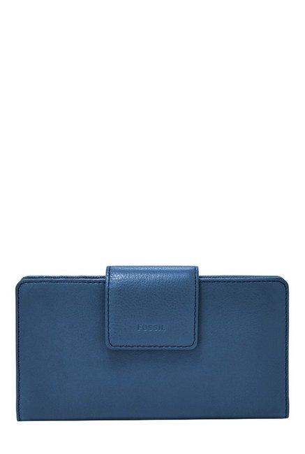 Fossil Marine Blue Solid Leather RFID Bi-Fold Wallet