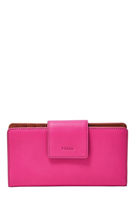 Fossil Hot Pink Solid Leather RFID Bi-Fold Wallet