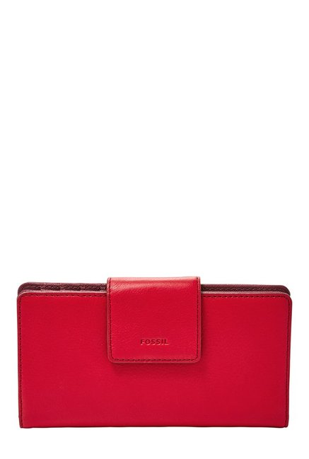 Fossil Crimson Red Solid Leather RFID Bi-Fold Wallet