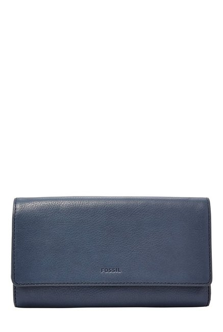 Fossil Navy Solid Leather RFID Tri-Fold Wallet