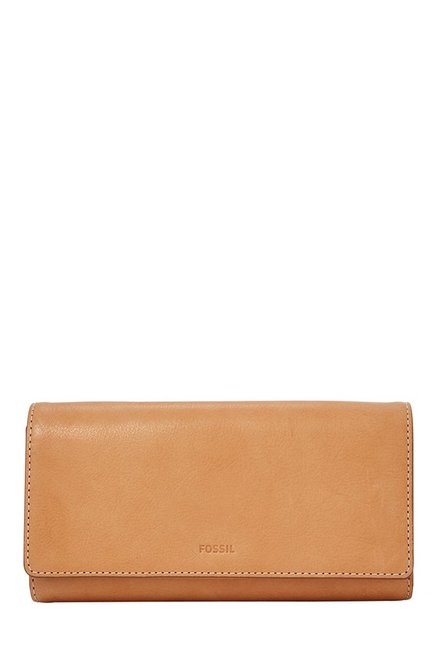 Fossil Tan Solid Leather RFID Tri-Fold Wallet