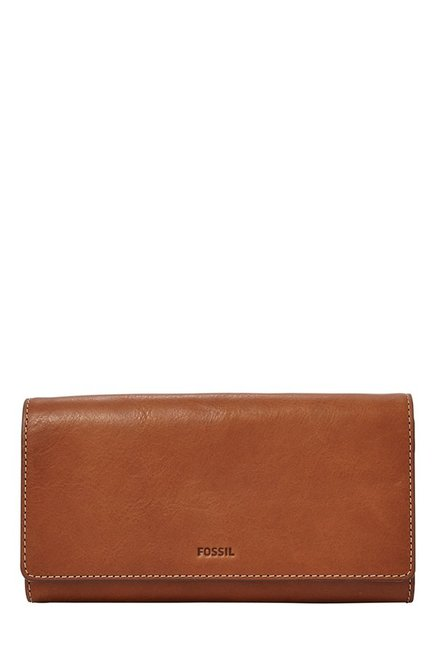 Fossil Brown Solid Leather RFID Tri-Fold Wallet