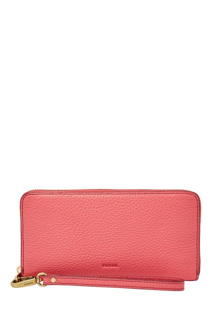 Fossil Rose Pink Solid Leather RFID Wallet