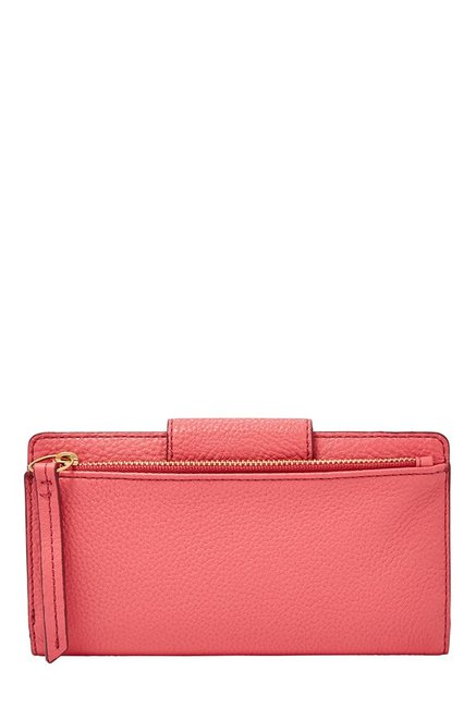 Fossil Rose Pink Solid Leather RFID Bi-Fold Wallet