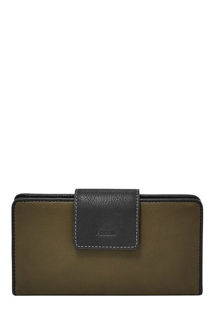 Fossil Olive Green Solid Leather RFID Bi-Fold Wallet