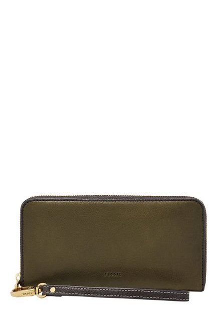 Fossil Olive Green Solid Leather RFID Wallet