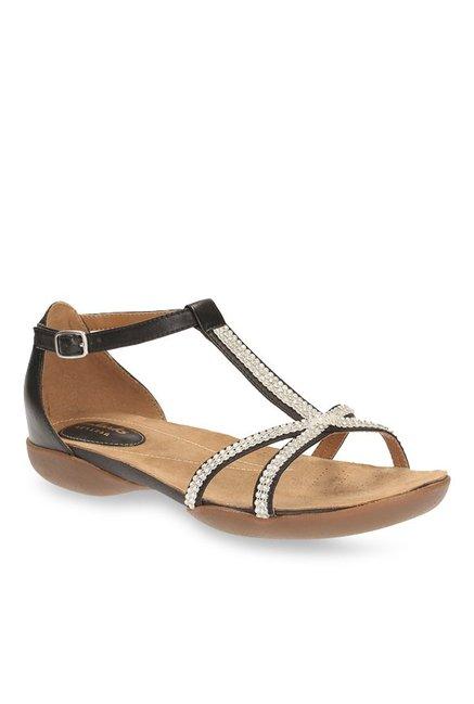 75b6c1f09f67 Buy Clarks Raffi Star Black T-Strap Sandals for Women at Best Price   Tata  CLiQ