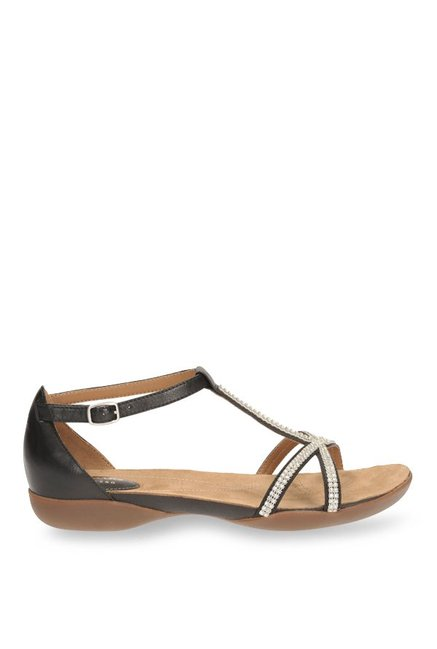 fe4a39695d1d Buy Clarks Raffi Star Black T-Strap Sandals for Women at Best Price ...