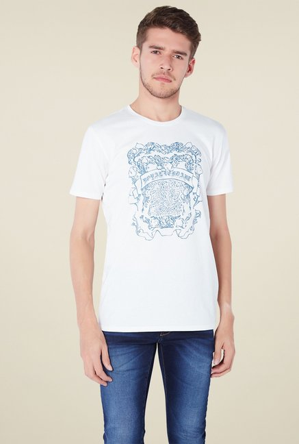 Van Heusen White Crew Neck Cotton T-Shirt