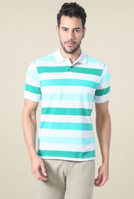 Peter England Sea Green & White Regular Fit Polo T-Shirt