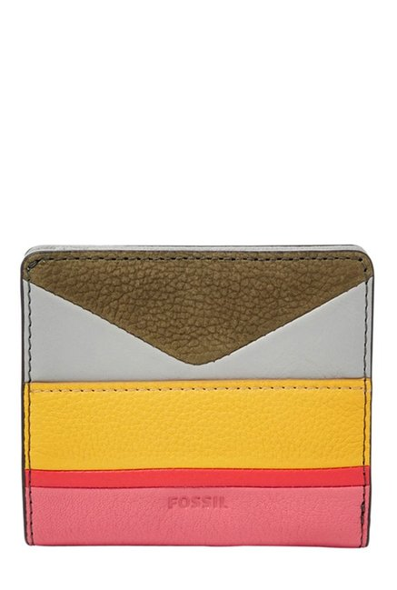 Fossil Yellow & Pink Color Block Leather Bi-Fold Wallet