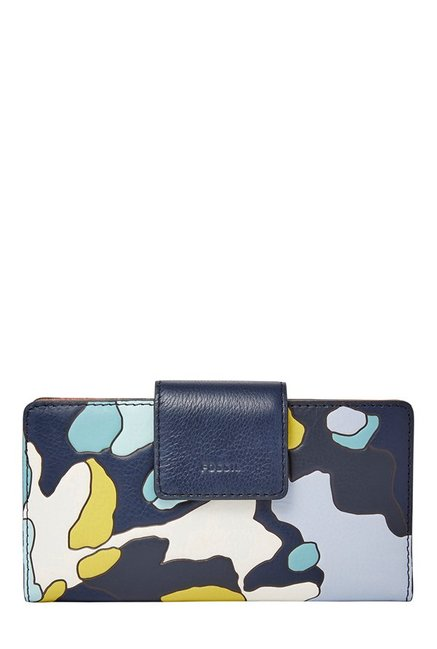 Fossil Navy & White Printed Leather Bi-Fold Wallet