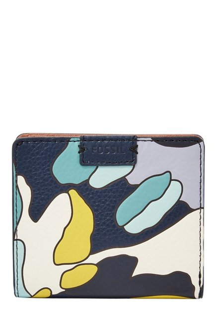 Fossil Navy & White Printed Leather RFID Bi-Fold Wallet