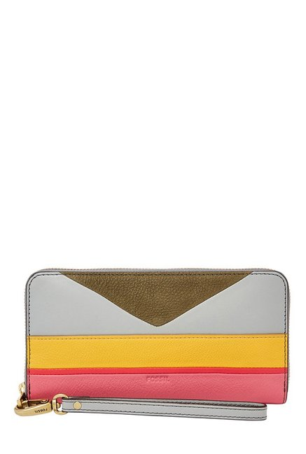 Fossil Yellow & Pink Color Block Leather RFID Wallet