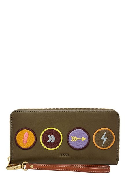 Fossil Olive Green Applique Leather Wallet