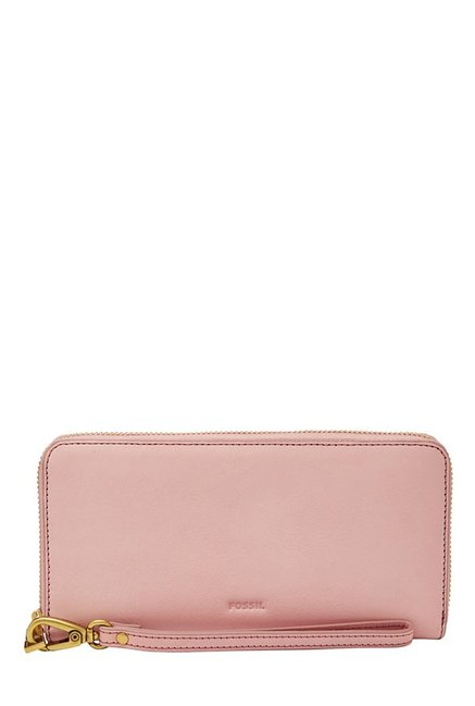 Fossil Powder Pink Solid Leather RFID Wallet