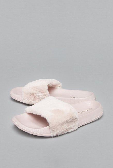 buy luna blu by westside light pink slides for women online at tata cliq