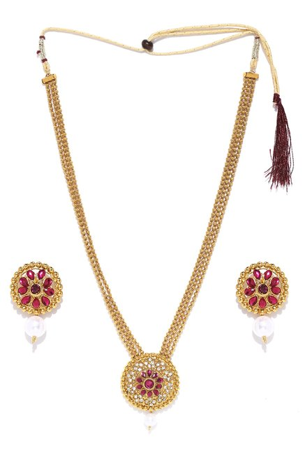 e670a2126 Buy Zaveri Pearls Yellow   Dark Pink Alloy Haram Necklace Set for Women At  Best Price   Tata CLiQ