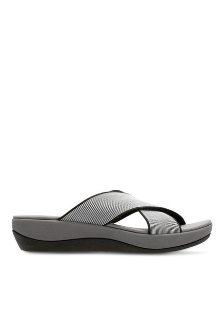 b1f1c2afa51 Buy Clarks Arla Elin Black   White Wedge Heeled Sandals for Women ...
