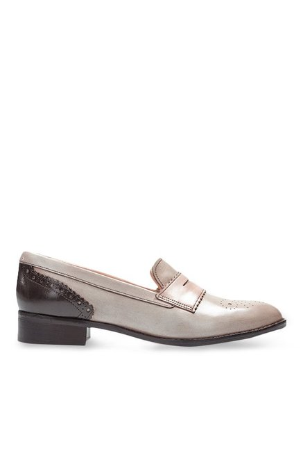 Clarks Netley Lola Light Grey & Dark Brown Loafers
