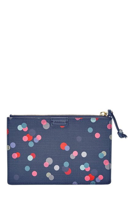 Fossil Navy Polka Dots Leather Pouch