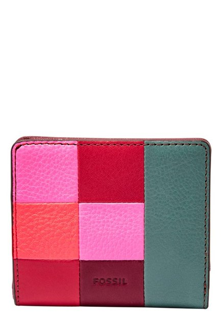 Fossil Red & Pink Color Block Leather RFID Bi-Fold Wallet