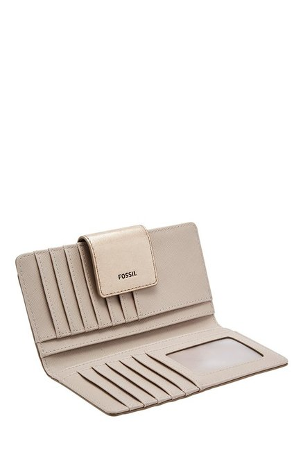 Fossil Golden Solid Leather Bi-Fold Wallet