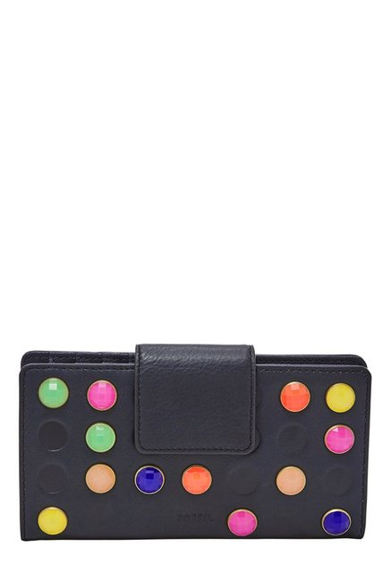 Fossil Black Embellished Leather RFID Bi-Fold Wallet