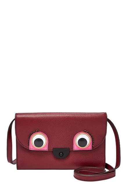 Fossil Maroon Leather Flap Sling Bag