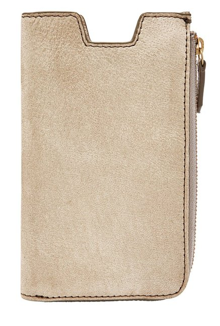 Fossil Beige Solid Leather Pouch