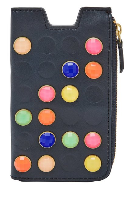 Fossil Midnight Navy Embellished Leather Pouch
