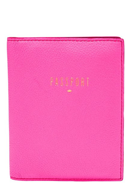 Fossil Neon Pink Solid Leather Passport Case