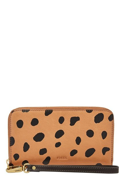 Fossil Tan & Black Printed Leather Wallet