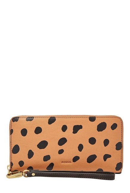 Fossil Tan & Black Printed Leather RFID Wallet