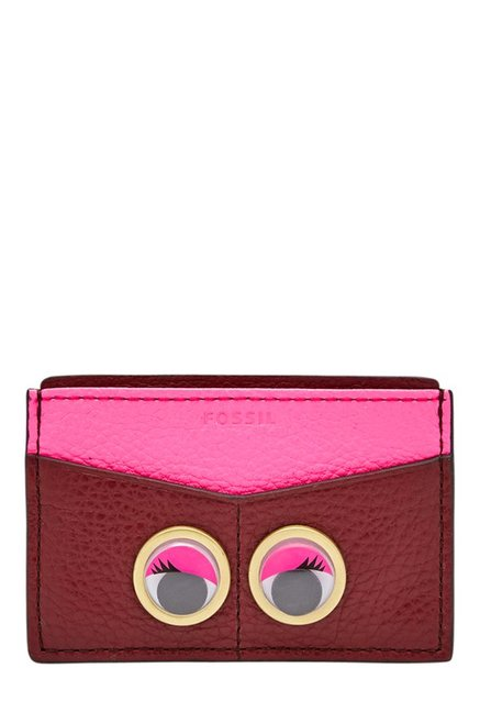 Fossil Maroon & Pink Embellished Leather Card Case
