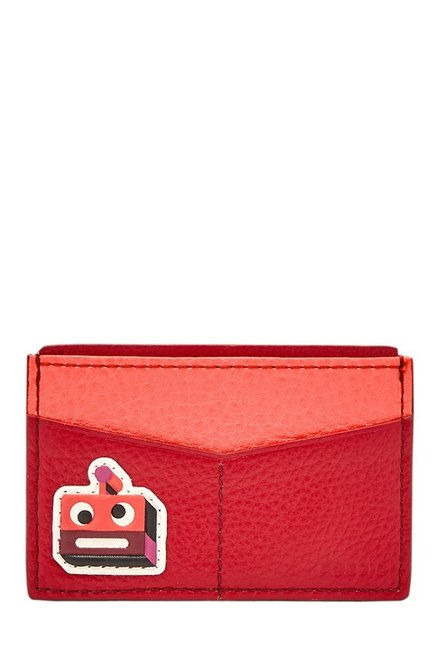 Fossil Crimson Red & Coral Applique Leather Card Case