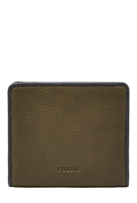 Fossil Olive Green Solid Leather Bi-Fold Wallet