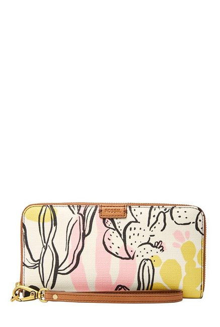 Fossil White & Pink Printed Leather RFID Wallet