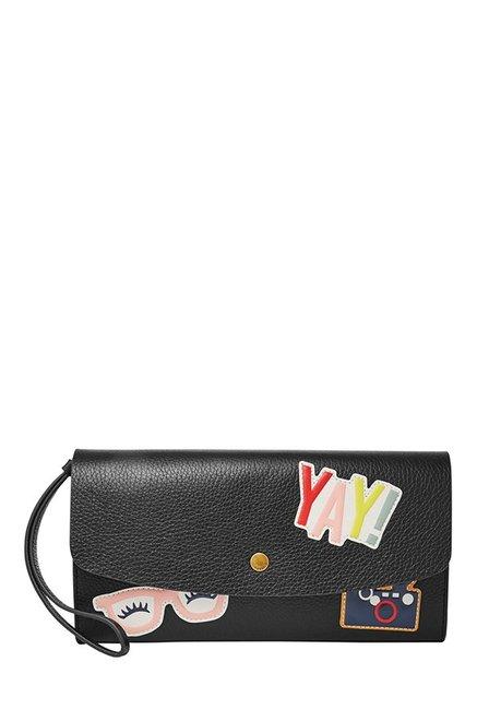 Fossil Black Applique Leather Flap Wallet