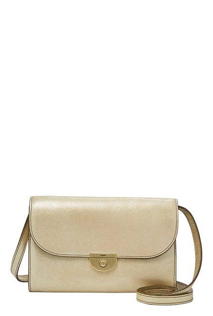 Fossil Golden Solid Leather Flap Sling Bag