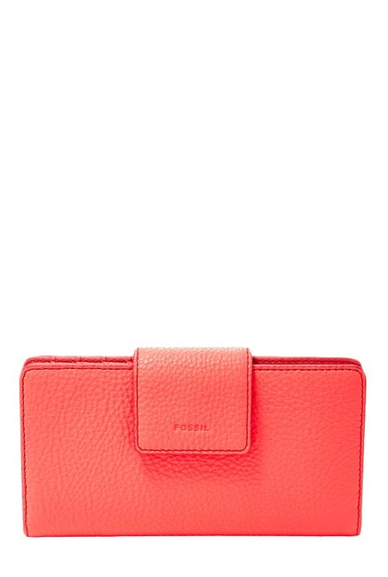 Fossil Coral Solid Leather Bi-Fold Wallet