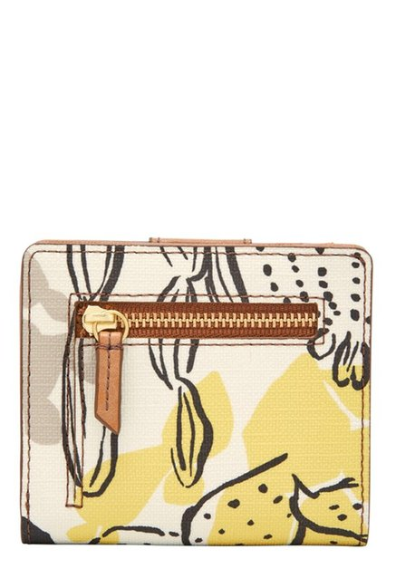 Fossil White & Pink Printed Leather RFID Bi-Fold Wallet