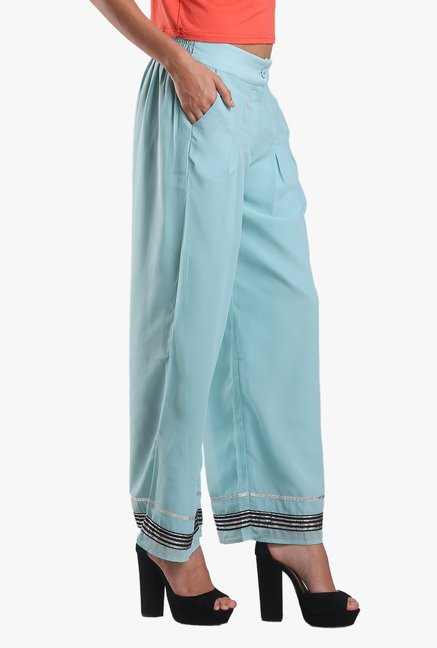 W Light Blue Cotton Palazzo