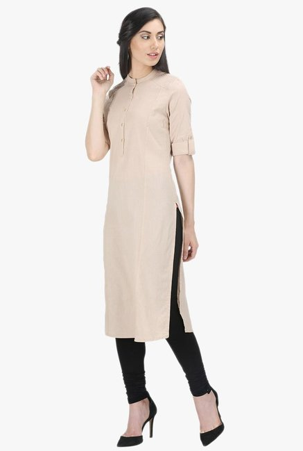 W Beige Cotton Kurta